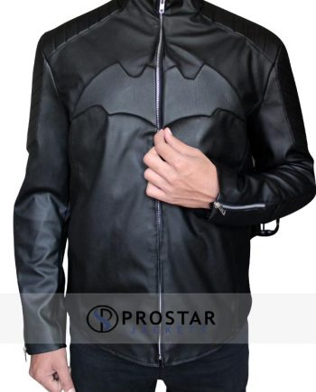 Black Christian Bale Batman Begins Jacket-Front-pose