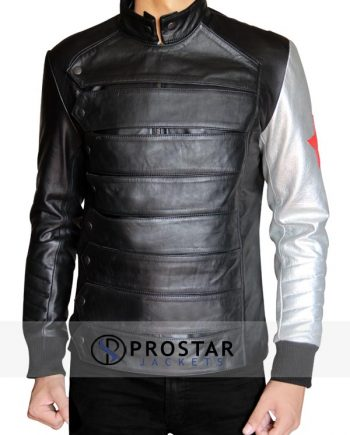 Silver Armour Sebastian Stan Bucky Barnes Jacket-front
