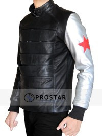 Silver Armour Sebastian Stan Bucky Barnes Jacket-side-pose