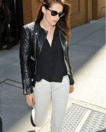 black-bomber-Kristen-Stewart-leather-Jacket