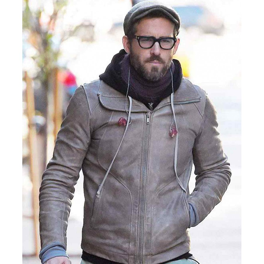 Biker Ryan Reynolds Brown Leather Jacket - ProStarJackets