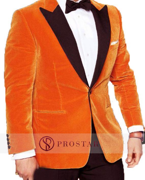 taon egerton orange tuxedo coat