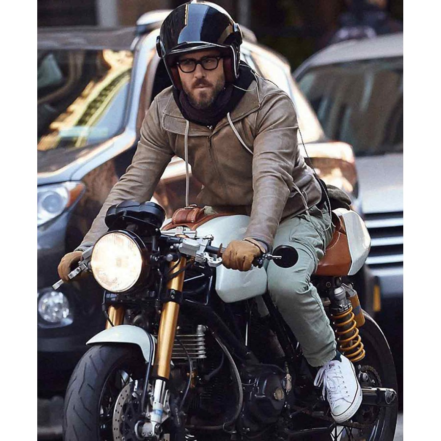 leather jacket brown biker ryan reynolds motorcycle jackets prostarjackets celebrity