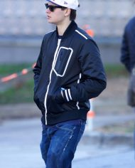 Ansel Elgort Black Jacket