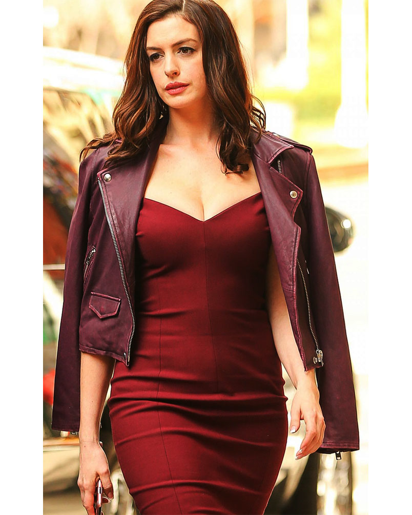 Anne Hathaway Purple Jacket From Oceans Eight