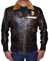 Jumanji 2 Brown Leather Jacket