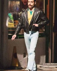 Rami Malek Black Leather Jacket