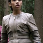 Lost in Space Taylor Russell Grey Leather Jacket