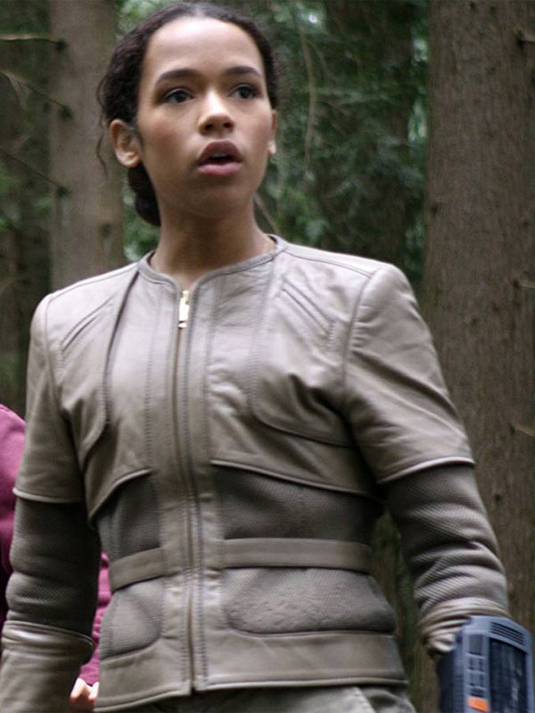 Taylor Russell Grey Jacket Lost in Space