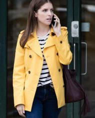 Anna Kendrick A Simple Favor Yellow Leather Pea Coat