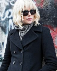 Charlize Theron Black Wool Coat