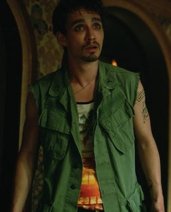 Robert Sheehan Green Cotton Vest